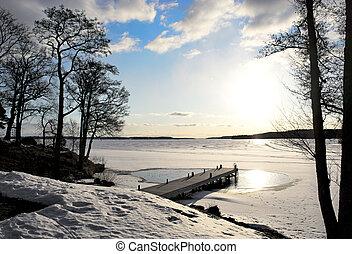 cedo, primavera, lago, jetty