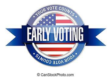 cedo, votando, desenho, ilustração, selo