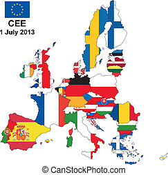 CEE 2013 - illustration of european union map with flags, ...