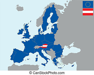 CEE austria - illustration of europe map with flag of ...