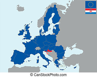 CEE croatia - illustration of europe map with flag of ...