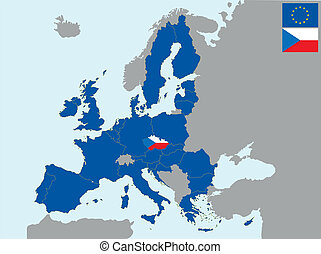 CEE czech - illustration of europe map with flag of czech, ...