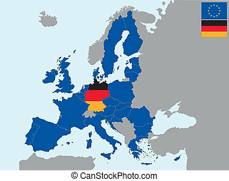 CEE germany - illustration of europe map with flag of ...