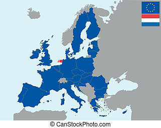 CEE holland - illustration of europe map with flag of ...