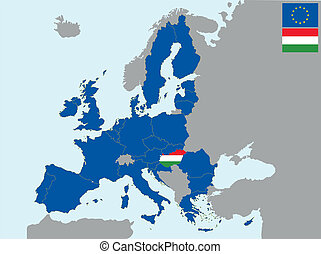 CEE hungary - illustration of europe map with flag of ...
