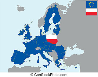 CEE poland - illustration of europe map with flag of poland...