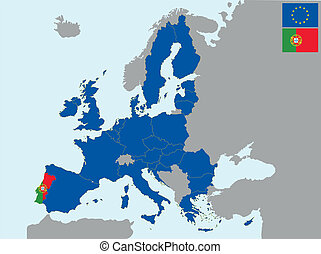 CEE Portugal - illustration of europe map with flag of ...