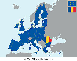 CEE romania - illustration of europe map with flag of ...