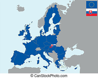 CEE slovakia - illustration of europe map with flag of ...