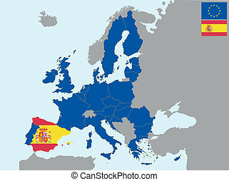 CEE spain - illustration of europe map with flag of spain, ...