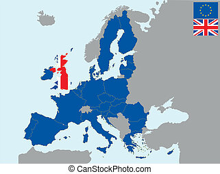 CEE uk - illustration of europe map with flag of united ...