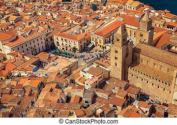 cefalu, cathédrale, carrée, au-dessus