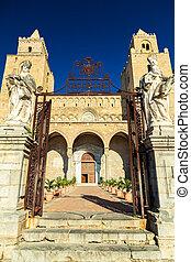 cefalu, cathédrale, entrée, principal