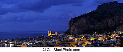 Cefalu in twilight, Sicily