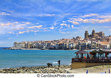 Cefalu, Sicily - Beautiful view of Cefalu beach, Palermo, ...