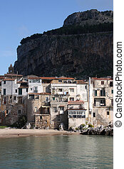 Cefalu, Sicily island in Italy. Sea view of beautiful ...