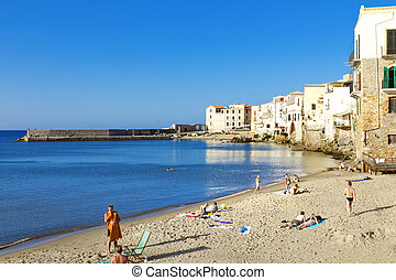 Cefalu, Sicily - Beautiful view of Cefalu beach, Palermo,...
