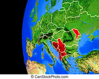 CEFTA countries from space