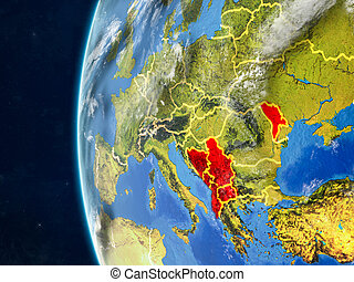 CEFTA countries on globe from space