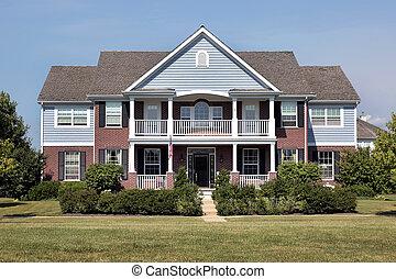 cegła, dom, z, błękitny, bocznica