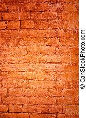 ceglana ściana, -, doskonały, grunge, tło