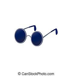 cego, ícone, estilo, caricatura, óculos