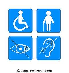cego, ícones, cadeira rodas, incapacitado, surdo, vetorial, sinais