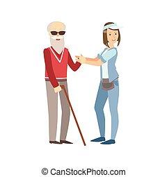 cego, ajudando, homem, antigas, voluntário