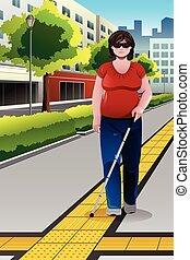 cego, andar, calçada, pessoas