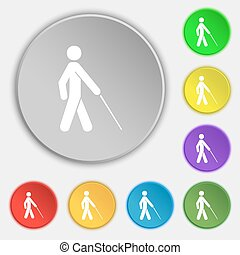 cego, apartamento, buttons., sinal., vetorial, cinco, símbolo, ícone