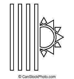 cego, apartamento, estilo, conceito, louver, jalousie, cor, sol, imagem, ilustração, pretas, símbolos, vetorial, veneziano, shutdown, luz, fim, veneziana, ícone, esboço