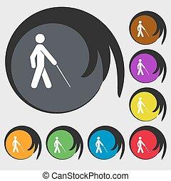 cego, buttons., colorido, sinal., vetorial, oito, símbolo, ícone