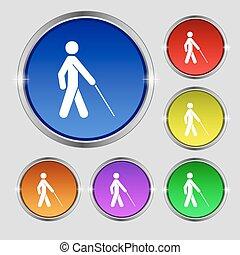 cego, buttons., sinal., símbolo, luminoso, vetorial, colorido, redondo, ícone