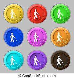 cego, buttons., sinal., símbolo, vetorial, nove, colorido, redondo, ícone