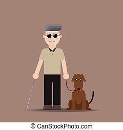 cego, cão, homem