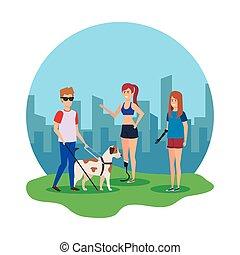 cego, cão, prótese, mulheres, guia, homem
