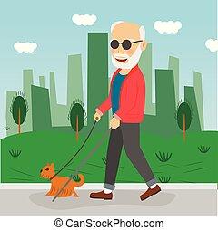 cego, cidade, andar, ao ar livre, parque, cão, sênior, guia, homem