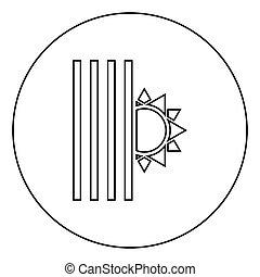 cego, conceito, jalousie, imagem a cores, símbolos, shutdown, fim, veneziano, estilo, louver, sol, círculo preto, apartamento, ilustração, ícone, esboço, luz, veneziana, vetorial, redondo