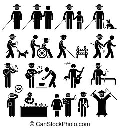 cego, desvantagem, figura vara, homem