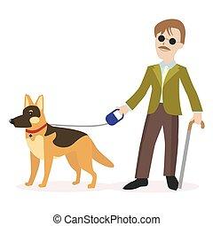 cego, dog., guide-dog., apartamento, incapacidade, concept., eps10., personagem, isolado, ilustração, pessoa, vetorial, experiência., branca, guia, homem
