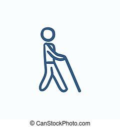 cego, esboço, vara, icon., homem