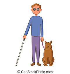 cego, estilo, cão, caricatura, ícone, guia, homem