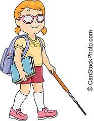 cego, estudante menina, criança