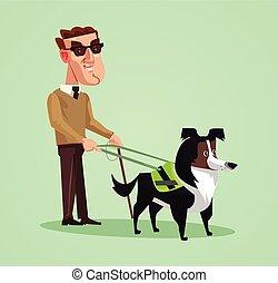 cego, guide., personagem, cão, ilustração, pessoa, vetorial, caricatura, homem