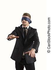 cego, homem negócios