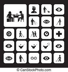 cego, hospitalar, homem, ícone