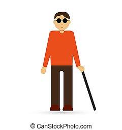 cego, ilustração, disabled., pessoa, vetorial, ícone, seu, design.