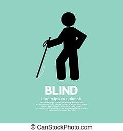 cego, incapacitado, pretas, símbolo.