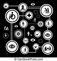 cego, jogo, homem, ícone