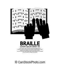 cego, língua, braille, ilustração, vetorial, leitura